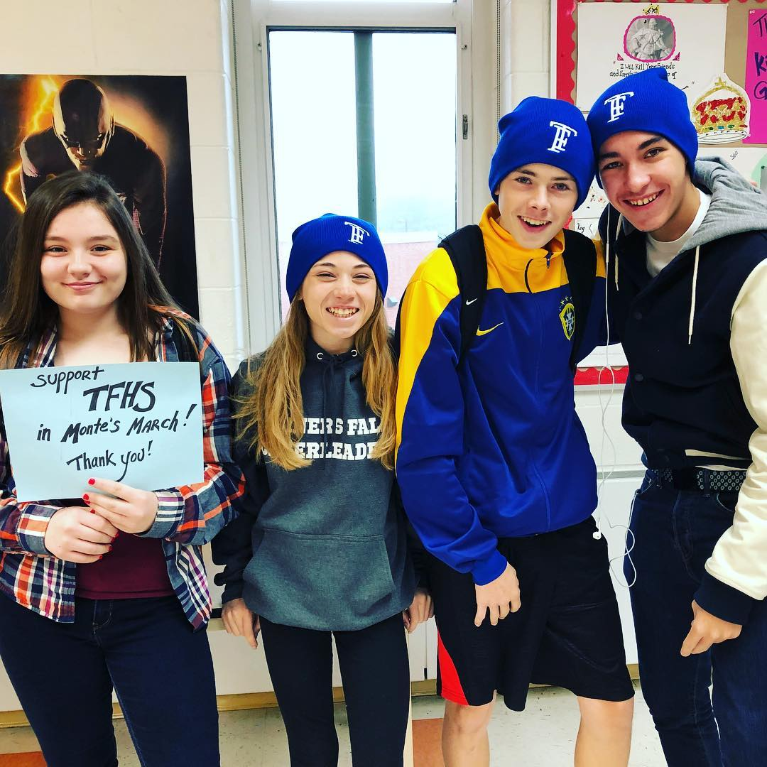 high school students wearing TF hats