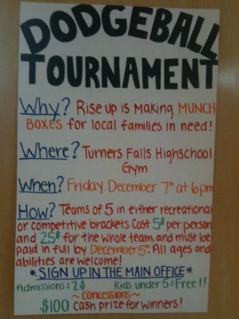 poster advertising Dodgeball event Fri, 12/7 6pm at TFHS $5/person $25/team $2 admission, kids under 5 free.