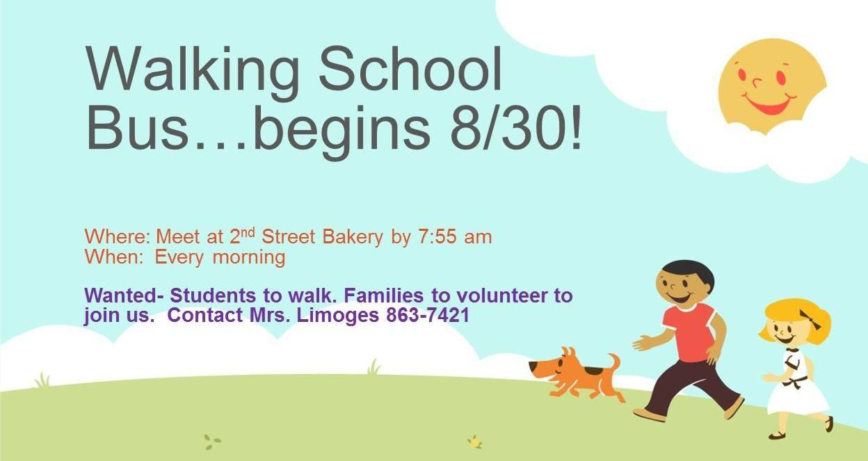 "announcement about the Sheffield ""walking school bus,"" which departs from the 2nd St Bakery each morning at 7:55"